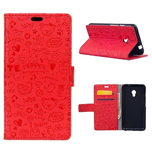 """MOONCASE Meizu M5s/Meizu Meilan 5s Flip Cover, [Cartoon Pattern] Portafoglio Pelle Custodia Durevole TPU Antiurto Supporto Protezione Case per Meizu M5s 5.2"""" Rosso"""