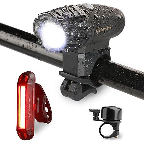 Fansteck USB Wideraufladbare Fahrradlichter Set, LED Fahrradfrontlicht und Rücklicht Set, 320 Lumen, Spritzwassergeschützt, mit Kostenlose Fahrradklingel