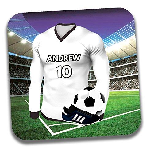 Personalisiertes Geschenk–Fußball Shirt Mottoparty Getränke Untersetzer/Bierdeckel–Geburtstagsgeschenk–Strumpffüller–Ayr United Farben