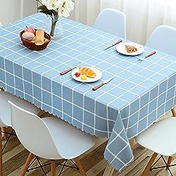 HM&DX PVC Impermeable Manteles de mesa Libre de aceite Antimanchas Comprobador de Decoraciones Mesa de paño de cubierta protector para comedor Mesas-azul D120cm(41in) Redondo