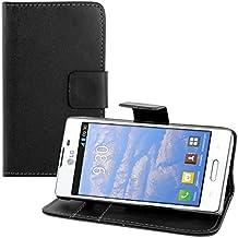 kwmobile Funda para LG Optimus L5 II - Wallet Case plegable de cuero sintético - Cover con tapa tarjetero y soporte en negro