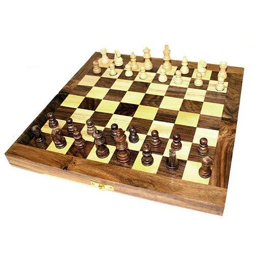 St@llion Juego de ajedrez Plegable Hecho a Mano con Piezas de Madera para completar tu Mente de Ejercicio Cerebro, Large