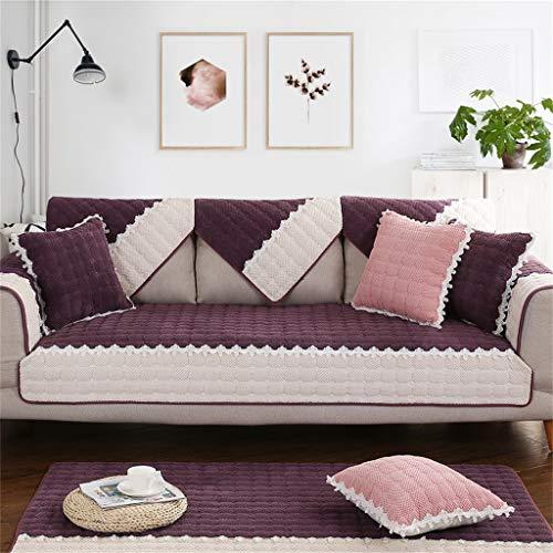Divano asciugamano, divano cuscino tessuto inverno antiscivolo peluche moderno minimalista soggiorno divano copertura del tovagliolo (colore : purple, dimensioni : 90 * 120cm(35 * 47inch))