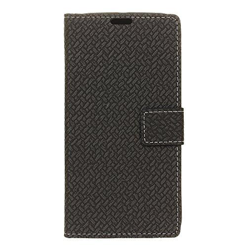 COVO® PU+TPU Ledertasche für ZTE Blade A910 Leder Tasche Hülle Faux Leder Brieftasche Hülle mit Stand Funktion (Schwarz)