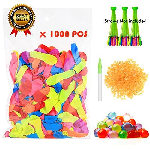 Casefashion Wasserballon mit Nachfüllkits 1000 PCS Wasserspiel Schießspiele im Sommer in Bunde Farbe Sommer Splash Spaß für Kinder & Erwachsene Latex Wasserballons