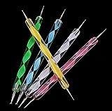 Exécution Exquise Ensemble d'outil à ongles pour marbleizing stylo à deux points - 5 pièce (Couleur : Black, Taille : 13cm)