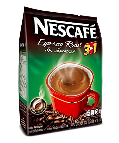 Nescafe, 3 In 1 Espresso Roast Instant Coffee 486G (Pack Of 27 Sachets).
