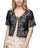 Schulterjacke Damen Vintage Fashion mit Perlen Bolero Elegant Kurzarm Transparent Classic Kleidung Spitze Umhang Cardigan Bolerojacke Für Brautkleid Abendkleid Kleidung