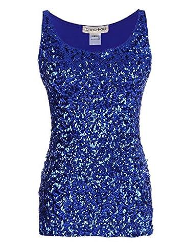Anna-Kaci Women Shimmer Glam Sequin Embellished Sparkle party Tank Top Vest