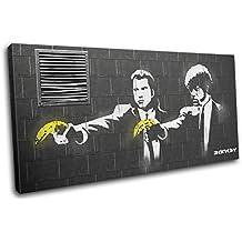 Bold Bloc Design - Pulp Fiction Banksy Hi Res - 180x90cm Caja de lámina de arte lienzo enmarcado foto del colgante de pared - hecho a mano en el Reino Unido - enmarcado y listo para colgar - Canvas Art Print