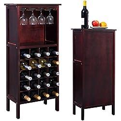 Blitzzauber24 Étagère à vin Range Bouteille Casier à vin Porte-Bouteille Armoire en Bois