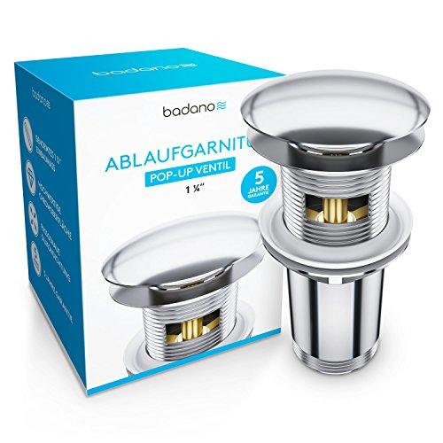 Badano Universal Ablaufgarnitur mit Überlauf für Waschbecken & Waschtisch - Chrom Pop Up Ventil – Ablaufventil, Abflussgarnitur aus Messing - Werkzeugloser Einbau mit Anleitung - 5 Jahre Garantie