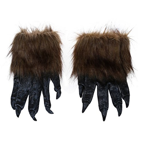 SODIAL(R) 1 Paar Wolf Handschuhe Halloween Maske Tier Maske Set Werwolf Maskerade Wolf (Groesse: L, Farbe: Schwarz)