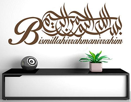 Wandtattoo Bismillahirrahmanirrahim Arabische und deutsche Kalligraphie Koran Schrift Islamische Dekoration Wandtattoos Wandaufkleber Bismillah Besmele(180 x 66 cm, Dunkelbraun)