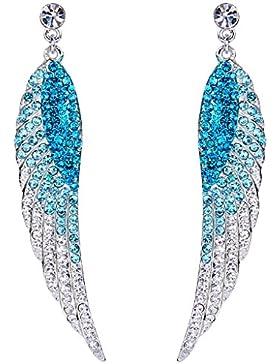 EVER FAITH® modern Engel Flügel Ohrring blau österreichische Kristalls A13220-5