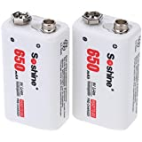 Docooler 2pc 650mAh 9V 6F22 Li-ion Lithium Rechargeable Battery For Electronic Smoke Guitar EQ