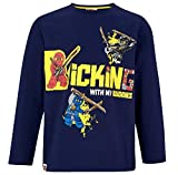 LEGO Ninjago Langarmshirt Jungen Lang Rundhalsausschnitt Shirt (Blau, 128-134)