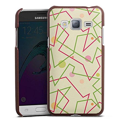 DeinDesign Samsung Galaxy J3 Duos 2016 Lederhülle braun Leder Case Leder Handyhülle 80er 80s Retro -