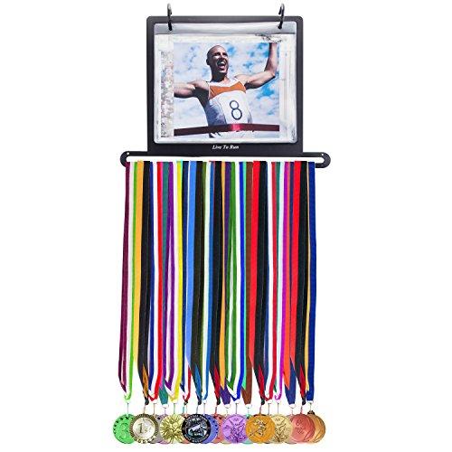 Live to Run Race Lätzchen und Medaillenhalter - Wandmontage-Kit - bis zu 40 gratis Lätzchen/Fototaschen enthalten - zeigt 25 Rennmedaillen und 80 Renn-Lätzchen, schwarz, Large - Live Kit