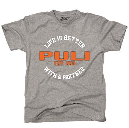 Siviwonder Unisex T-Shirt PULI - LIFE IS BETTER PARTNER Hunde Sports Grey