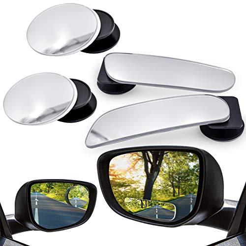 WEKON Auto Toter Winkel Spiegel - 360 Grad Einstellbare Weitwinkel Rückspiegel HD Konvexen Seitenansicht Spiegel für jedes Auto geeignet (4 Stück)