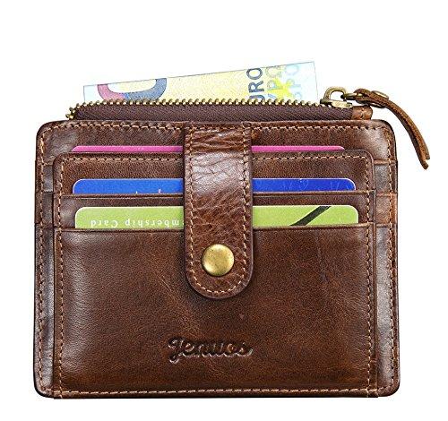 2e21ef0e45 Porta Carte di Credito Uomo, Jenuos Portafoglio Vintage in Vera Pelle con  Blocca RFID,