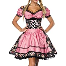 Dirndl Costume tipico bavarese con camicetta e grembiule in tessuto denim e pizzo per Oktoberfest nero/rosa