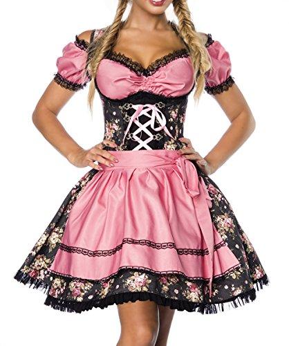 Dirndl Kleid Kostüm mit Bluse und Schürze aus Denim Stoff und Spitze Oktoberfest Dirndl schwarz/rosa XL (Traditionelles Dirndl Kostüm)