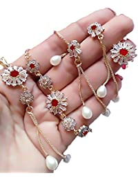 M CREATION American Diamond Ruby-Colored Gold Plated Necklace Set With Earring, Ring And Bracelet For Women