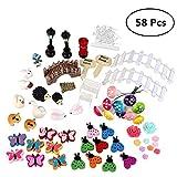Fancyku 58 Pcs Miniature Garden Ornaments Kit for DIY Fairy Garden Dollhouse Decor Landscaping Decor