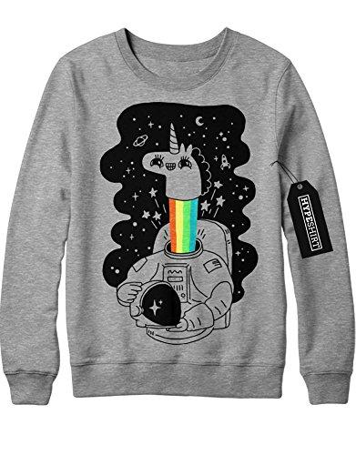 Sweatshirt Einhorn Anstronaut Regenbogen Universium Weltall Sterne Saturn Rakete H970007 Grau (Lady Kostüme Rainicorn)