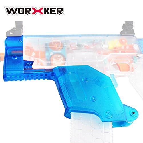 MAJOZ Worker Short Sword Cover Rahmen Deckel Anbauteile Spielzeug-Zubehör-Kit für Nerf N-Strike Elite Stryfe- Transparent Blau