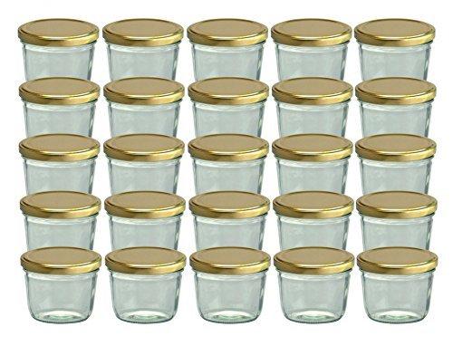 25er Set Sturzglas 230 ml Marmeladenglas Einmachglas Einweckglas To 82 gold farbiger Deckel