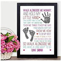 Walk Alongside Me Mummy Mum Nan Nanna Nanny PERSONALISED Birthday Gifts Presents - PERSONALISED with ANY NAME and ANY RECIPIENT - Black or White Framed A5, A4, A3 Prints or 18mm Wooden Blocks