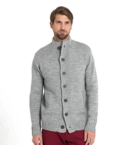 WoolOvers Cardigan Everyday boutonné - Homme - Pure laine Flannel Grey