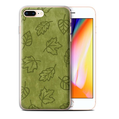 Stuff4 Gel TPU Hülle / Case für Apple iPhone 8 Plus / 7 Pack / Blatt Muster/Textil Effekt Kollektion Grün