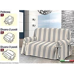 Biancheria Store COPRIDIVANO Laccetti in 3 Misure Tessuto Jacquard Righe Rigato Strisce - 1 Posto Grigio E Panna