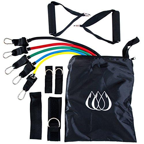 11-teiliges Fitnessband Set – mit 5 Bändern, komfortablen Griffen, Türbefestigungsmittel und Reisetasche – Dein Gym aus der Tasche! Trainieren Sie ab jetzt überall.