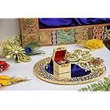 GiftingBestWishes Wedding Tray/Decorative Tray/Engagement Ring Platter/Engagement Ring Tray-Glass Tray With Decorative Flowers