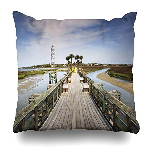(VVIANS Decorativepillows Case Throw Pillows Covers for Couch/Bed 18 X 18 Inches,Pitt Street Bridge Park Greenway Overlooking Marsh Inter-Coastal Waterway Home Sofa Cushion Cover Pillowcase Gift)
