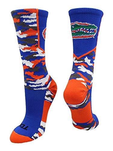 TCK Sport University of Florida Gators Woodland Camo Crew Socken, Jungen Damen Mädchen Herren, Royal/Orange/White, X-Large (Lacrosse Schmuck)