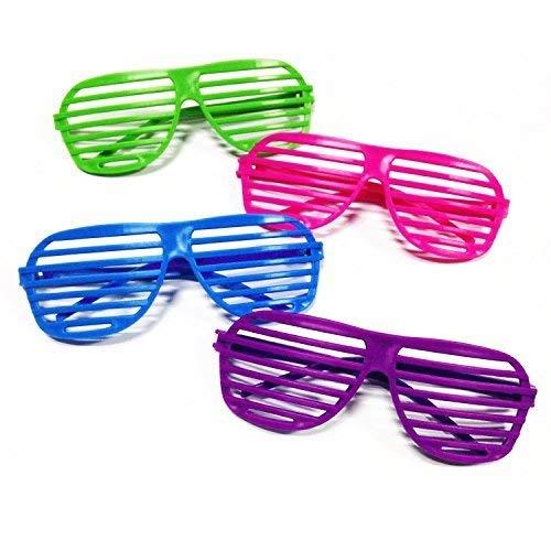 Novelty Place [Neuheit Ort] Neon Farbe Shutter Brille 80er Jahre Party Schlitz Sonnenbrille für Kinder & Erwachsene - 24 Paare (4 - Teenager Gangster Kostüm