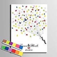 Lienzo de huellas volar hasta el cielo árbol de boda regalo de bodas Decoración de la boda fiesta regalo boda nombre (incluye 12colores de tinta) 59x80cm