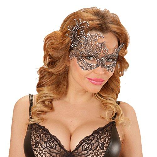 he Barock Maske - Silber - Ballmaske venezianisch Elegante Spitzenmaske Karneval Venezianische Masken Venedigmaske für Maskenball Antike Augenmaske Gothic ()