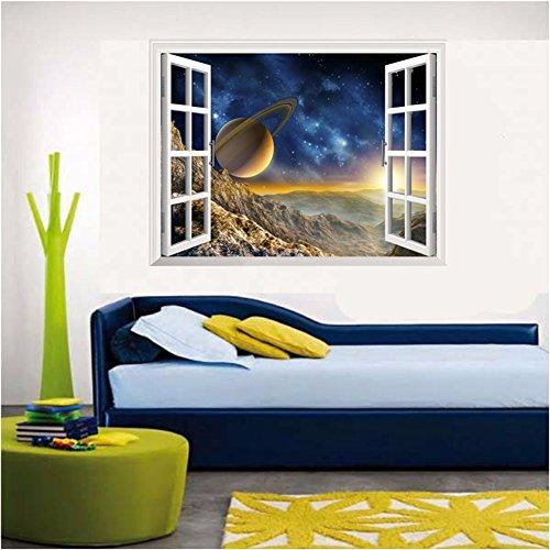 Decorazioni di natale per halloween 3d (stella), parete finta finestra / stereo / camera da letto / salotto / la via lattea / background / decorazione / adesivo / pvc / turno (87 * 55cm)