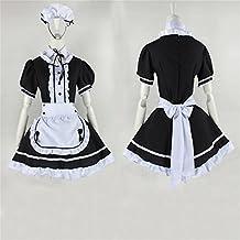vestido de la criada de Cosplay del Anime japonés trajes restaurante Maid Negro XL