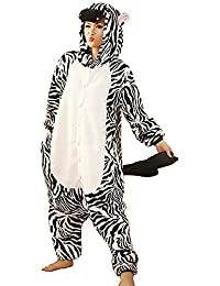 Samgu-Zebre animal Pyjama Cospaly Party Fleece Costume Deguisement Adulte Unisexe