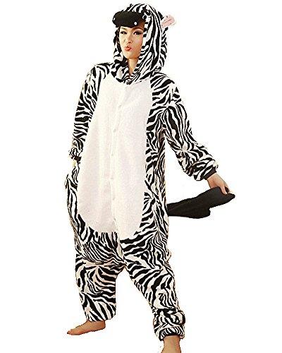Samgu-zebra Tier Onesie Pyjama Kostüme Schlafanzug Erwachsene Unisex (M(Körpergröße:161-168cm)) (Kleinkind Kostüm Halloween Zebra)
