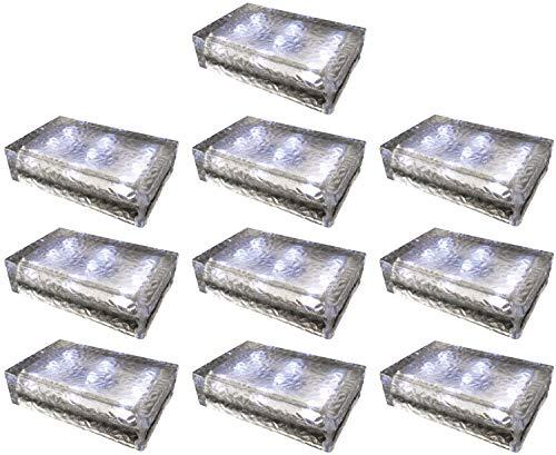 10 pezzi FUCHS Mattonella Solare LED Vetro bianco freddo 23x15x6 cm - per l\'illuminazione del percorso (antiscivolo)