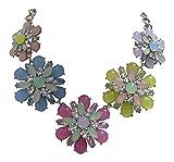 TrachtExemplar® Blüten Statement Collier Pastell Farben - XXL Opal Kristall Dirndl Kette - Zarte Farben
